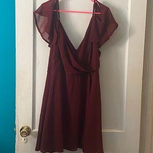 Off shoulder burgundy dress